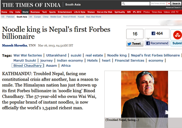 Noodle king is Nepal's first Forbes billionaire